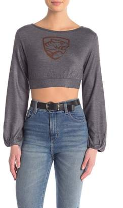 Couture Go Printed Tie Back Cropped Sweater