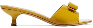 Salvatore Ferragamo Ginostra Bow-embellished Patent-leather Mules - Saffron
