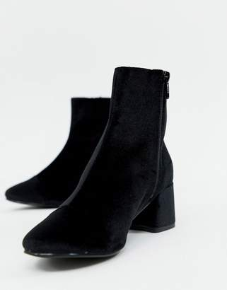 Miss Selfridge heeled ankle boots in black velvet