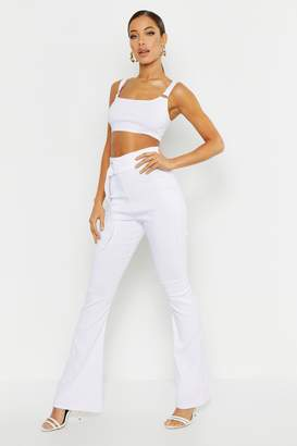 boohoo O Ring Bralet & Belted Flared Leg Trouser Co-ord
