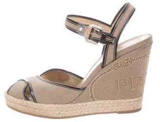 Prada Woven Wedge Sandals Beige Woven Wedge Sandals