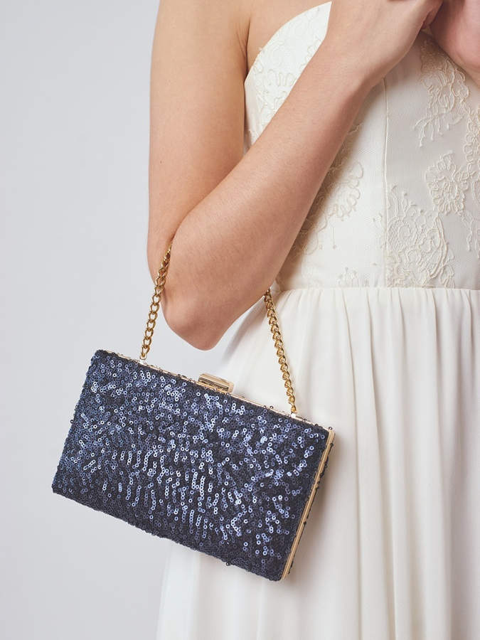 Etsy Navy Box Clutch | Bridal Clutch | Sequin Clutch | Blue Wedding Clutch | Something Blue [Esmé Box Clu