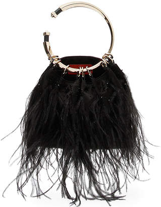 Valentino Bebop Loop Feather Clutch Bag