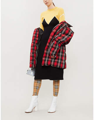 MSGM Colour-blocked stretch-knit dress