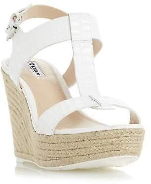 Dune Ladies KELBY T-Bar Espadrille Wedge Sandal in White Size UK 8