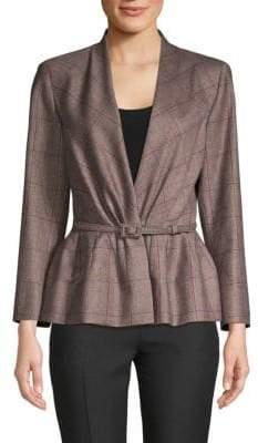 Carolina Herrera Plaid Belted Wool Jacket