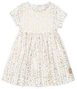 Smiling Button Little Girl's& Girl's Confetti Sunday Cotton Dress