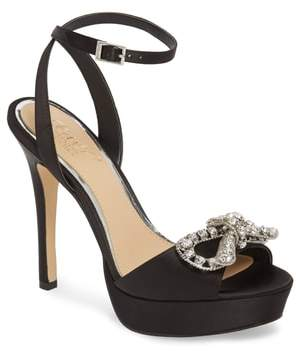 Badgley Mischka Mildred Crystal Bow Platform Sandal