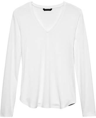 Banana Republic Luxespun Long-Sleeve V-Neck T-Shirt