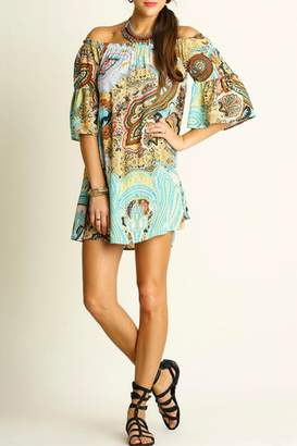 Umgee USA Printed Bell-Sleeve Dress