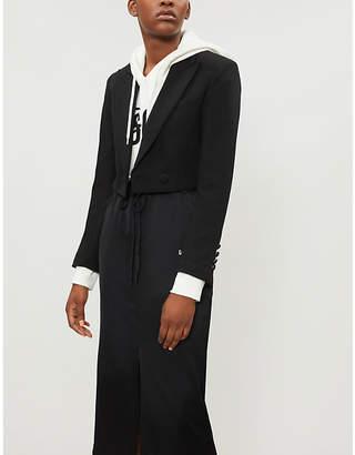 Mo&Co. Cropped tuxedo-style wool-blend jacket