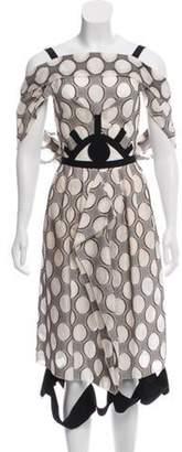 Roland Mouret Polka-Dot Midi Dress Tan Polka-Dot Midi Dress