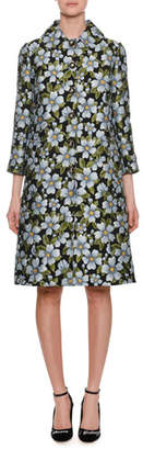 Dolce & Gabbana Single-Breasted Floral-Jacquard A-Line Coat
