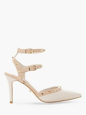 Dune Claret Studded High Heel Pointed Shoes, White