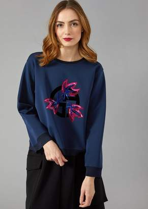Giorgio Armani Oversize Sweatshirt With Flocked Logo And Sequin Leaves
