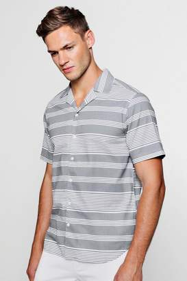 boohoo Placement Stripe Short Sleeve Revere Shirt