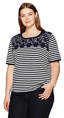 Alfred Dunner Alf Dunner Women's Stripe Sweater with Lace Yoke