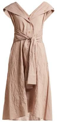Sies Marjan - Olive Striped Cotton Blend Dress - Womens - Dark Orange