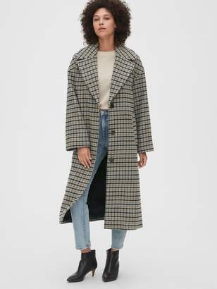 Gap Oversized Longline Plaid Wool-Blend Coat