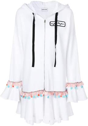 Au Jour Le Jour embroidered ruffle trim hoody