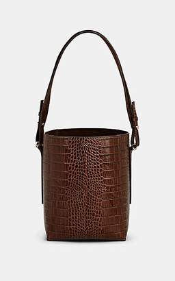 Co Women's Crocodile-Stamped Leather Bucket Bag - Brown