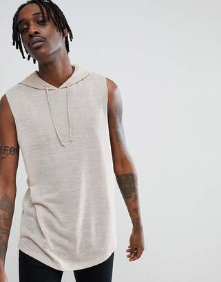 Asos Sleeveless Hooded T-Shirt With Dropped Armhole And Curved Hem In Linen Look Fabric