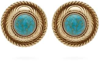 Etro Stone Embellished Stud Earrings - Womens - Blue