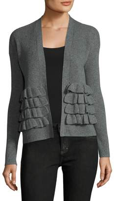 Qi Women's Cashmere Ribbed Gathered Trim Cardigan