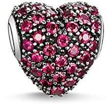 Thomas Sabo Women-Bead Karma Beads 925 Sterling Silver blackened synthetic Corundum red K0084-639-10