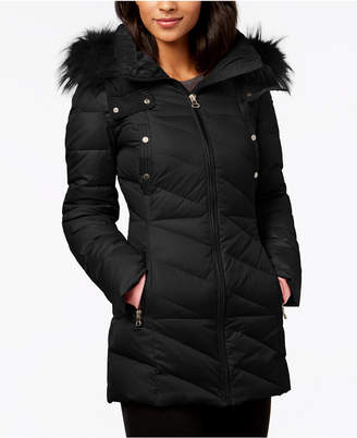 Andrew Marc Faux-Fur-Trim Puffer Coat