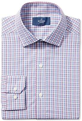 Buttoned Down Men's Fitted Cutaway-Collar Purple Textured Non-Iron Dress Shirt
