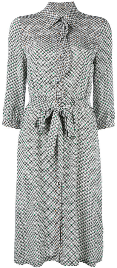 Bottega Veneta Bottega Veneta checked ruffled shirt dress