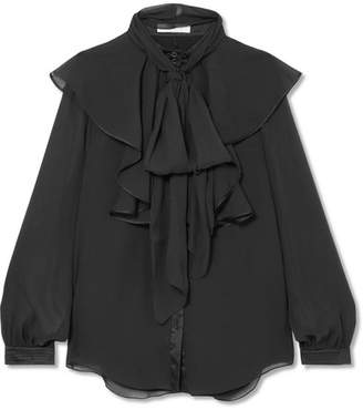 Chloé Ruffled Satin-trimmed Crepon Blouse - Black