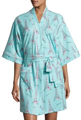 BedHead Bedhead French Bow Short Kimono Robe, Light Blue