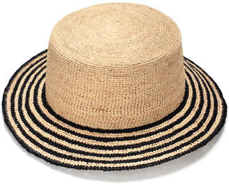 Justine Hats Striped Boater Straw Hat