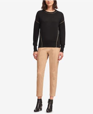 DKNY Metallic-Seam Crew-Neck Sweater