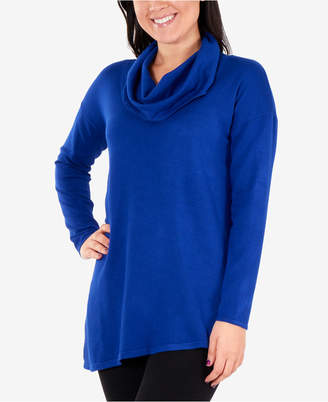 NY Collection Asymmetrical Cowl-Neck Sweater
