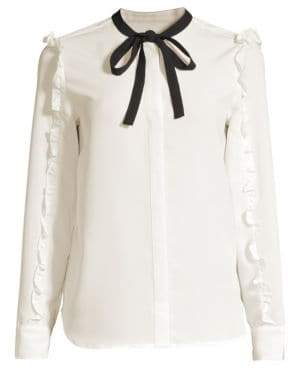 Draper James Ruffle Chiffon Long-Sleeve Tie-Neck Blouse