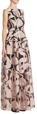 Talbot Runhof Marble-Print Gown