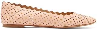 Chloé Lauren Studded Scallop Edge Leather Ballet Flats - Womens - Light Pink