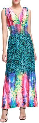 Wantdo Women's Boho Maxi Dress Flowers Printing Long Dress Plus Size