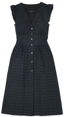 J.Crew Broderie Anglaise Cotton-poplin Dress - Black