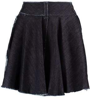 Norma Kamali Wrap-Effect Frayed Denim Mini Skirt