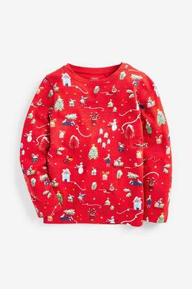 Next Girls Red Christmas All Over Print T-Shirt (3-16yrs) - Red