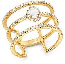 Meira T 14K Yellow Gold Milky Aquamarine & Diamond Triple Band Ring
