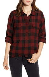 Treasure & Bond Buffalo Plaid Fray Hem Oversize Flannel Shirt