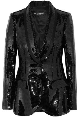 Dolce & Gabbana - Sequined Satin Blazer - Black $4,995 thestylecure.com