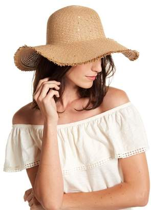 David & Young Frayed & Sequins Straw Floppy Hat