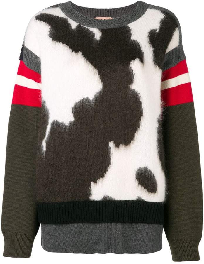 cow printed jumper