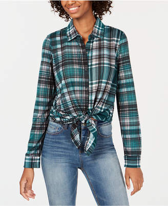 Almost Famous Juniors' Lattice-Back Tie-Front Plaid Shirt